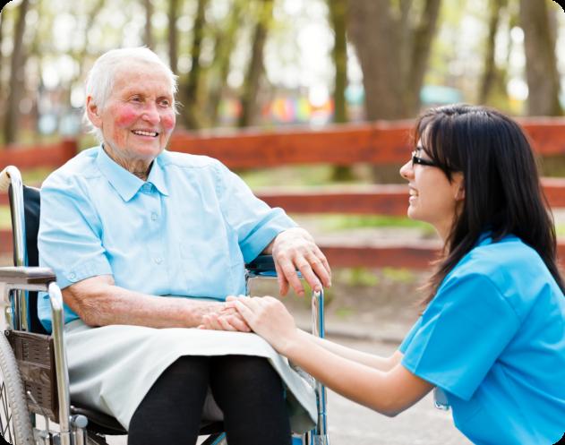 caregiver assisting an elder