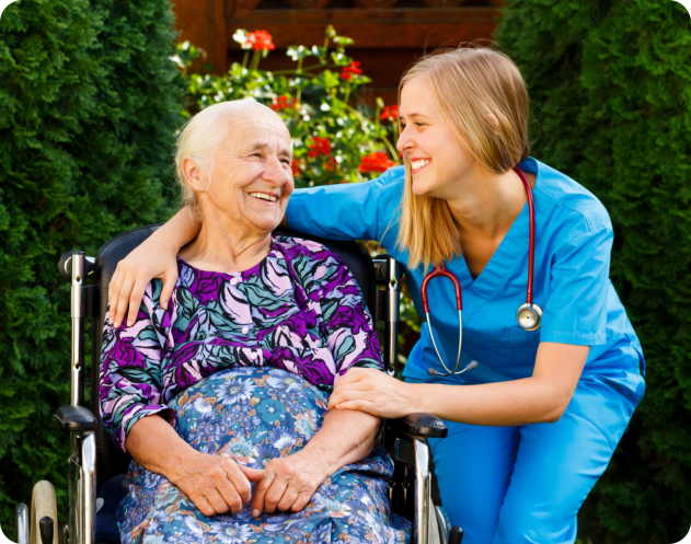 caregiver accompanying an elder